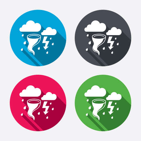 gale: Storm bad weather sign icon. Clouds with thunderstorm. Gale hurricane symbol. Destruction and disaster from wind. Insurance symbol. Circle buttons with long shadow. 4 icons set. Vector