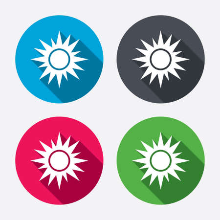 solarium: Sun sign icon. Solarium symbol. Heat button. Circle buttons with long shadow. 4 icons set. Vector Illustration