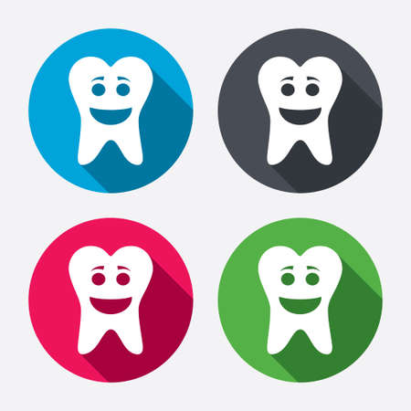 Tooth happy face sign icon. Dental care symbol. Healthy teeth. Circle buttons with long shadow. 4 icons set. Vector Vector