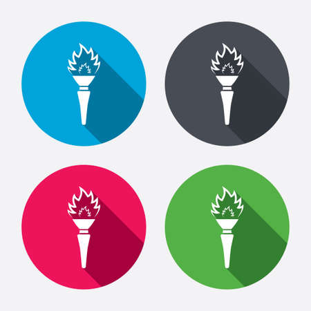 torch flame: Torch flame sign icon. Fire flaming symbol. Circle buttons with long shadow. 4 icons set. Vector