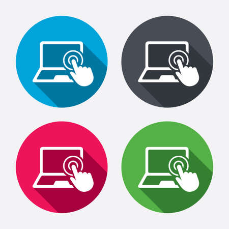 Touch screen laptop sign icon. Hand pointer symbol. Circle buttons with long shadow. 4 icons set. Vector