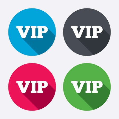 very important person: Vip sign icon. Membership symbol. Very important person. Circle buttons with long shadow. 4 icons set. Vector