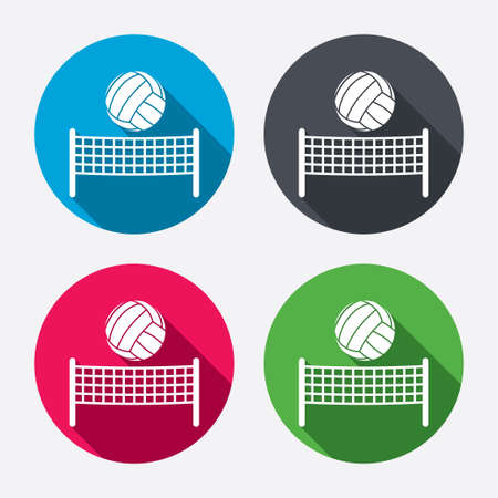volleyball player: Volleyball net with ball sign icon. Beach sport symbol. Circle buttons with long shadow. 4 icons set. Vector Illustration