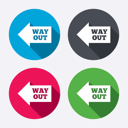 escape route: Way out left sign icon. Arrow symbol. Circle buttons with long shadow. 4 icons set. Vector Illustration