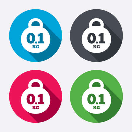 01: Weight sign icon. 0.1 kilogram (kg). Envelope mail weight. Circle buttons with long shadow. 4 icons set. Vector