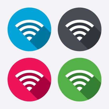 conection: Se�al Wifi. s�mbolo de conexi�n inal�mbrica. Icono de red inal�mbrica. Zona Wifi. Botones de c�rculo con larga sombra. 4 iconos conjunto. Vector Vectores