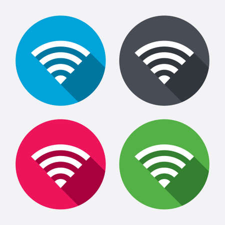 conection: Wifi sign. wireless conection symbol. Wireless Network icon. Wifi zone. Circle buttons with long shadow. 4 icons set. Vector