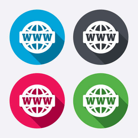 www at sign: WWW sign icon. World wide web symbol. Globe. Circle buttons with long shadow. 4 icons set. Vector