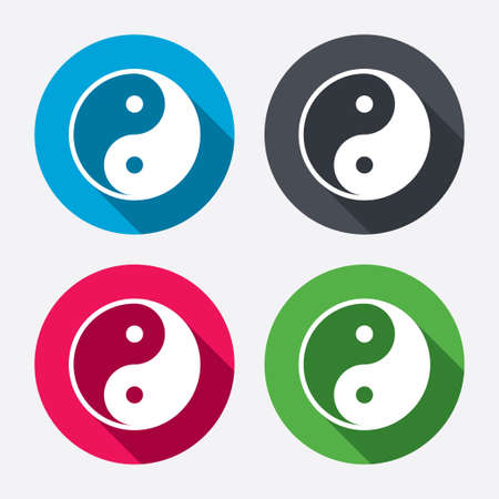 daoism: Ying yang sign icon. Harmony and balance symbol. Circle buttons with long shadow. 4 icons set. Vector