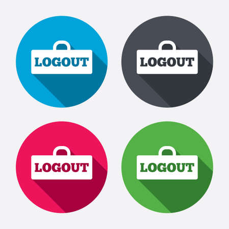 sign out: Logout sign icon. Sign out symbol. Lock icon. Circle buttons with long shadow. 4 icons set. Vector