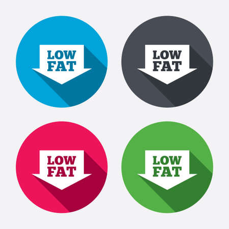 low fat diet: Low fat sign icon. Salt, sugar food symbol with arrow. Circle buttons with long shadow. 4 icons set. Vector
