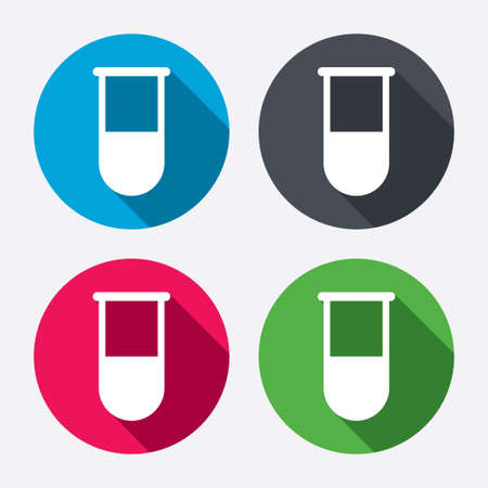 laboratory equipment: Medical test tube sign icon. Laboratory equipment symbol. Circle buttons with long shadow. 4 icons set. Vector
