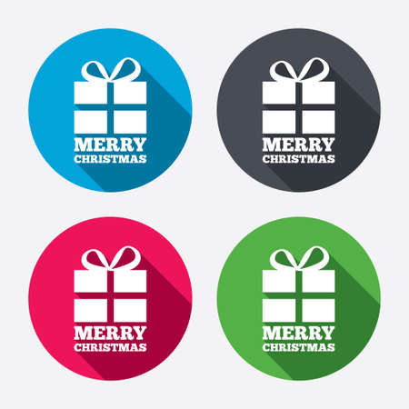 to present: Merry christmas gift sign icon. Present symbol. Circle buttons with long shadow. 4 icons set. Vector Illustration