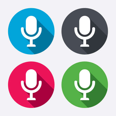 long live: Microphone icon. Speaker symbol. Live music sign. Circle buttons with long shadow. 4 icons set. Vector