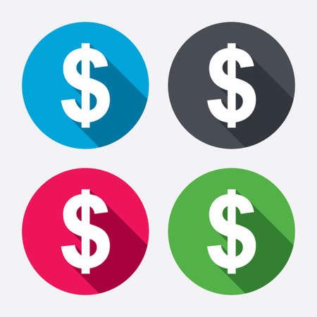 signos de pesos: Dólares firman icono. USD símbolo de moneda. Etiqueta dinero. Botones de círculo con larga sombra. 4 iconos conjunto. Vector