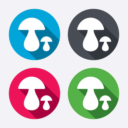 gravy: Mushroom sign icon. Boletus mushroom symbol. Circle buttons with long shadow. 4 icons set. Vector