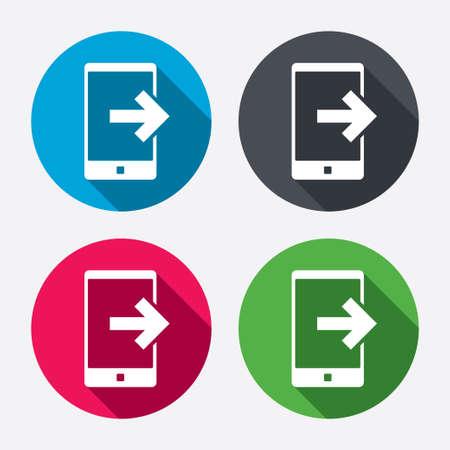 Outcoming 呼出符号アイコン。スマート フォンのシンボルです。長い影と円のボタン。4 つのアイコンを設定します。ベクトル  イラスト・ベクター素材