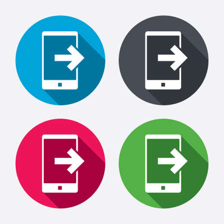 outcoming: Outcoming call sign icon. Smartphone symbol. Circle buttons with long shadow. 4 icons set. Vector