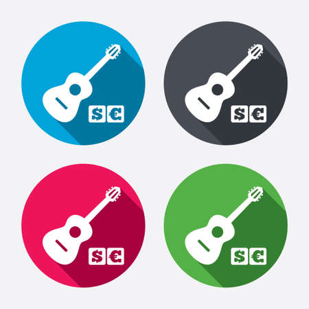 Acoustic guitar sign icon. Paid music symbol. Circle buttons with long shadow. 4 icons set. Vector