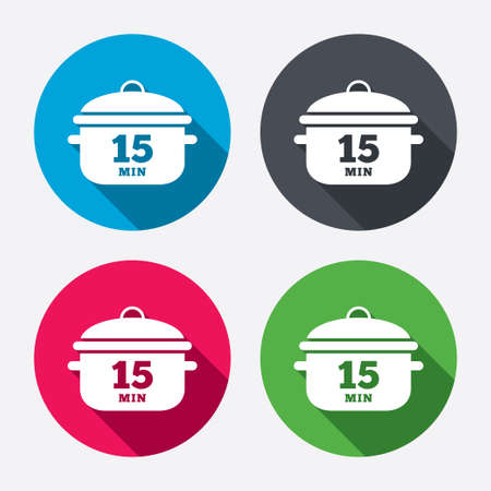 Boil 15 minutes. Cooking pan sign icon. Stew food symbol. Circle buttons with long shadow. 4 icons set. Vector Vector