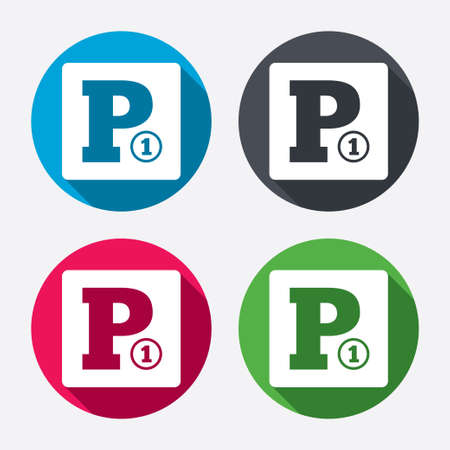 toll: Paid parking sign icon. Car parking symbol. Circle buttons with long shadow. 4 icons set. Vector Illustration