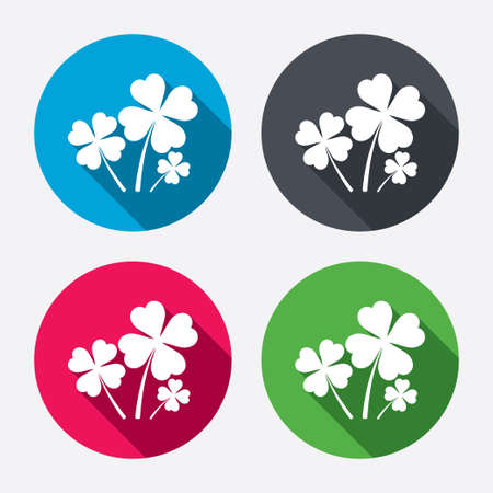 clover buttons: Clovers with four leaves sign icon.