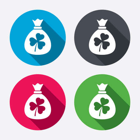 clover buttons: Money bag with three leaves clover sign icon.  Illustration