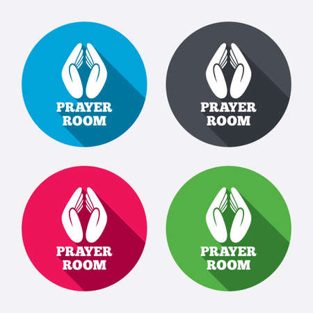 Prayer room sign icon. Religion priest faith symbol. Pray with hands. Circle buttons with long shadow. 4 icons set. Vector Фото со стока - 34474113
