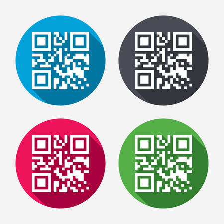 coded: Qr code sign icon. Scan code symbol. Coded word - success! Circle buttons with long shadow. 4 icons set. Vector