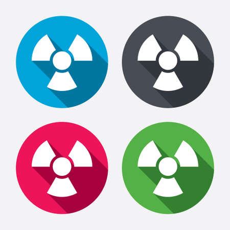 Radiation sign icon. Danger symbol. Circle buttons with long shadow. 4 icons set. Vector Vector