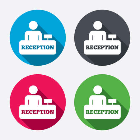 registration mark: Reception sign icon. Hotel registration table with administrator symbol. Circle buttons with long shadow. 4 icons set. Vector