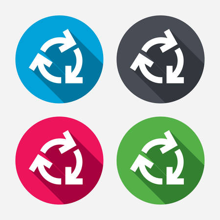 reduce: Recycling sign icon. Reuse or reduce symbol.. Circle buttons with long shadow. 4 icons set. Vector