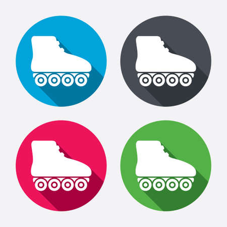 rollerblades: Roller skates sign icon. Rollerblades symbol. Circle buttons with long shadow. 4 icons set. Vector