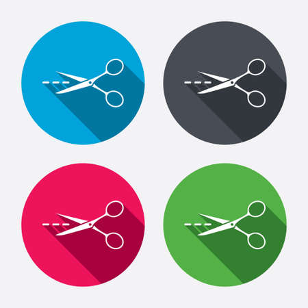 ciach: Scissors with cut dash dotted line sign icon. Tailor symbol. Circle buttons with long shadow. 4 icons set. Vector Ilustracja