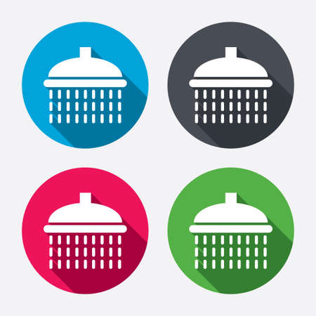 Shower sign icon. Douche with water drops symbol. Circle buttons with long shadow. 4 icons set. Vector Vector