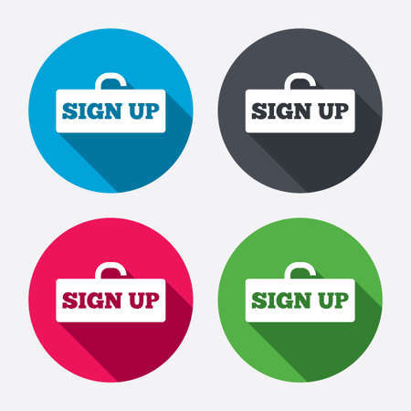 registration mark: Sign up sign icon. Registration symbol. Lock icon. Circle buttons with long shadow. 4 icons set. Vector