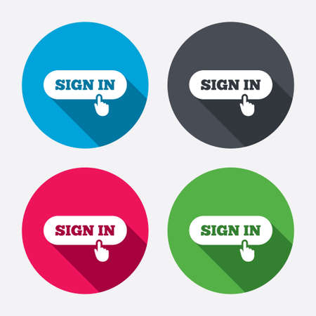 login icon: Sign in with hand pointer sign icon. Login symbol. Website navigation. Circle buttons with long shadow. 4 icons set. Vector