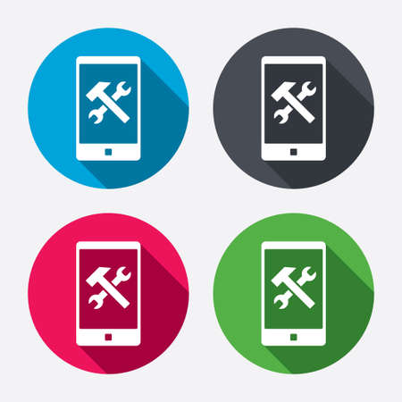 screw key: Smartphone repair sign icon. Service symbol. Hammer with wrench. Circle buttons with long shadow. 4 icons set. Vector Illustration