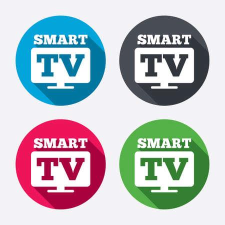set de television: Widescreen signo icono de Smart TV. Televisi�n s�mbolo. Botones de c�rculo con larga sombra. 4 iconos conjunto. Vector