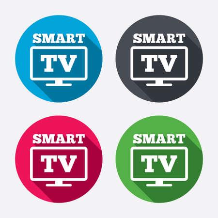 smart: Widescreen Smart TV sign icon.