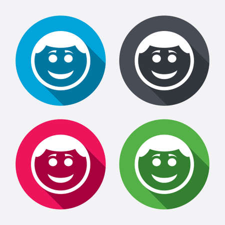the human face: Smile face sign icon. Happy smiley with hairstyle chat symbol. Circle buttons with long shadow. 4 icons set. Vector Illustration