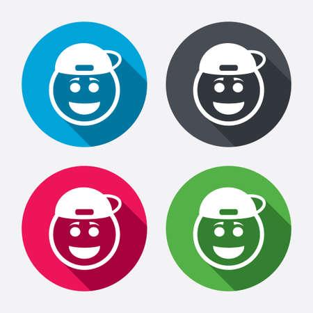 rapero: Sonrisa rapero signo icono de la cara. Vectores