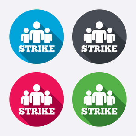 shadow people: Strike sign icon. Group of people symbol. Industrial action. People protest. Circle buttons with long shadow. 4 icons set. Vector