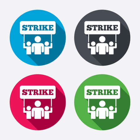 activists: Strike sign icon. Group of people symbol. Industrial action. People holding protest banner. Circle buttons with long shadow. 4 icons set. Vector