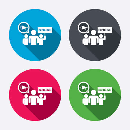 activists: Strike sign icon. Group of people symbol. Industrial action. Holding protest banner and megaphone. Circle buttons with long shadow. 4 icons set. Vector