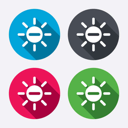 minus sign: Sun minus sign icon. Illustration