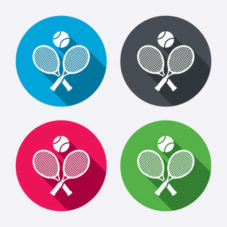 play tennis: Tennis rackets with ball sign icon. Illustration