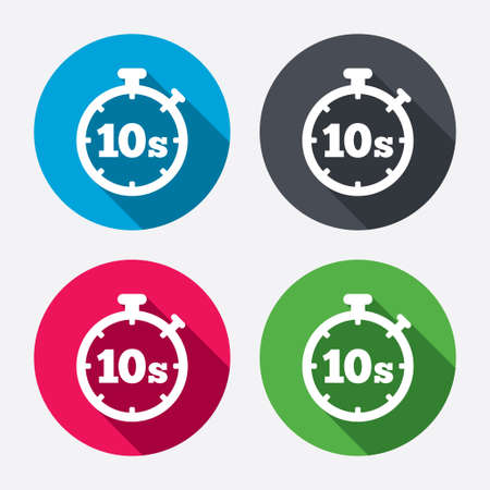 seconds: Timer 10 seconds sign icon. Stopwatch symbol. Circle buttons with long shadow. 4 icons set. Vector