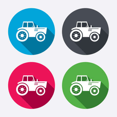tractor sign: Tractor sign icon. Agricultural industry symbol. Circle buttons with long shadow. 4 icons set. Vector