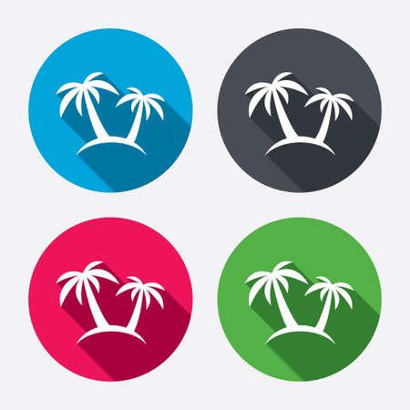 arboles frutales: Icono de la muestra de la palmera. S�mbolo del viaje. Botones de c�rculo con larga sombra. 4 iconos conjunto. Vector Vectores